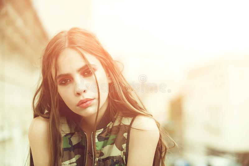 Beauty and fashion, military style, makeup and hair, youth stock photos