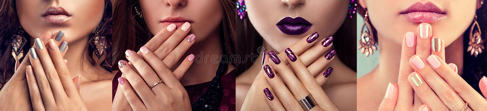 Beauty fashion model with different make-up and nail art design wearing jewelry. Set of manicure. Four stylish looks. Beauty fashion model with different make-up stock photography