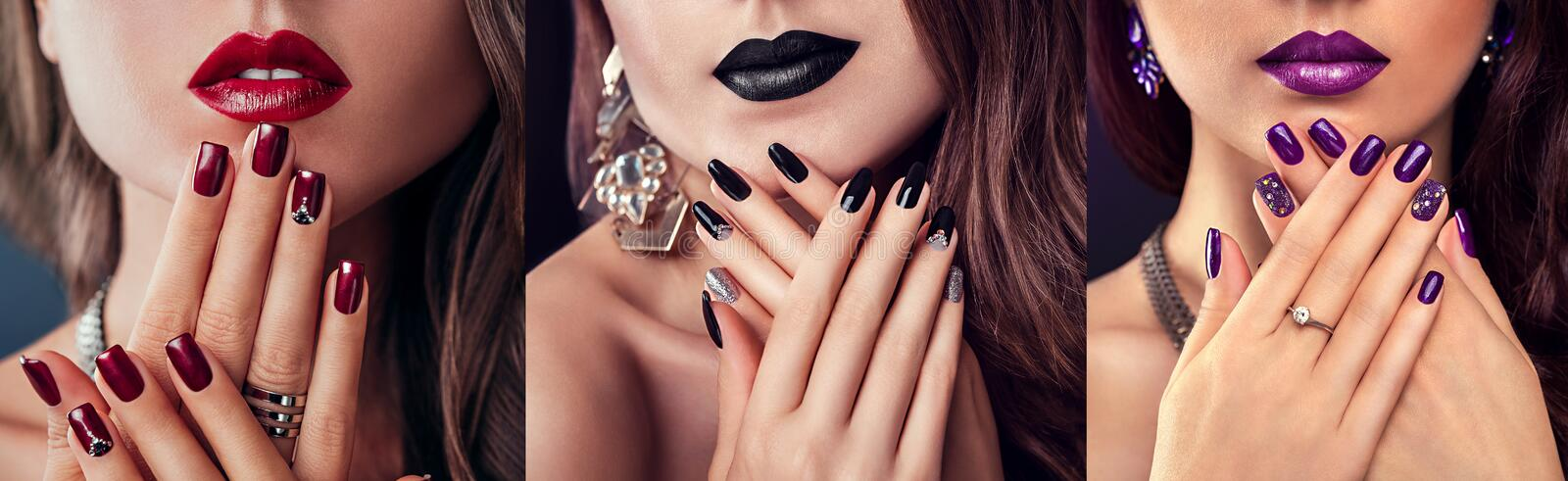Beauty fashion model with different make-up and nail design wearing jewelry. Set of manicure. Three stylish looks royalty free stock photography