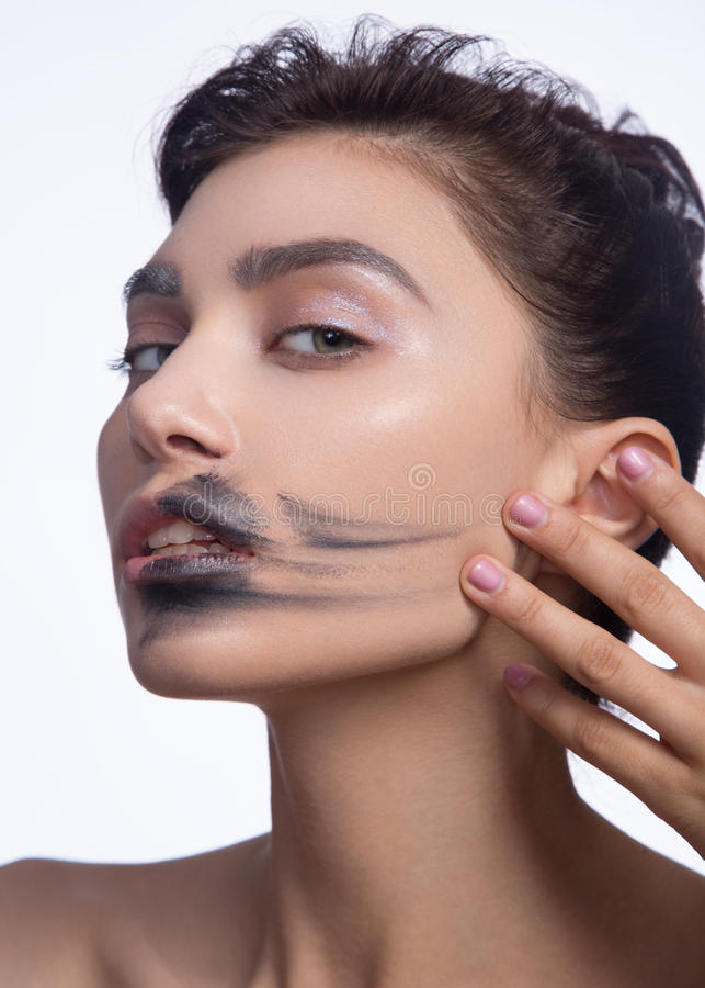 Beauty Fashion Model Girl with Black Make up, Long Lushes. Fashion Trendy Caviar Black Manicure. Nail Art. Dark Lipstick royalty free stock photos