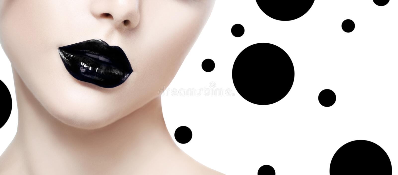 Beauty fashion model girl with black makeup royalty free stock photo
