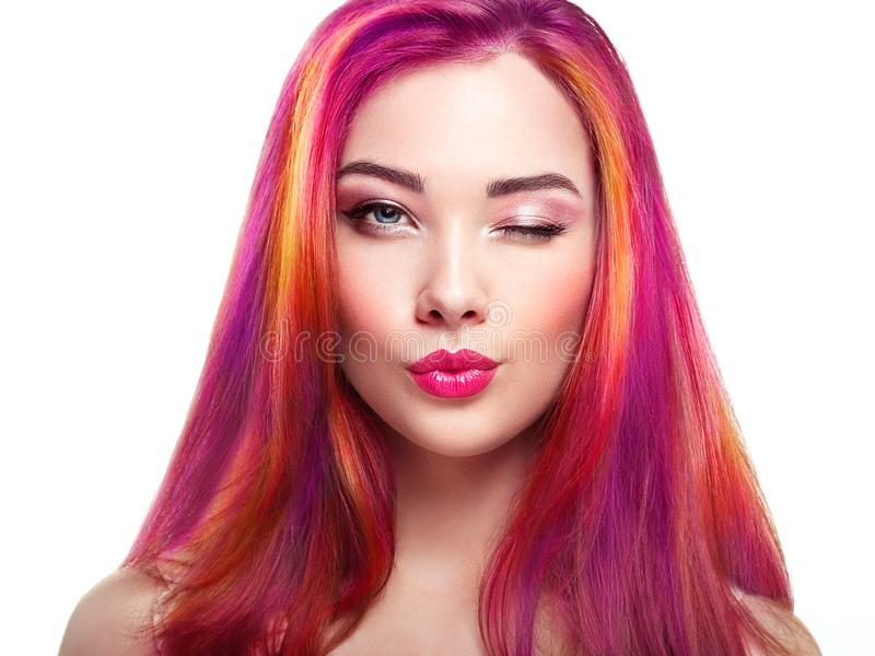 Beauty fashion model girl with colorful dyed hair. Girl with perfect Makeup and Hairstyle. Model with perfect Healthy Dyed Hair. Rainbow Hairstyles stock images