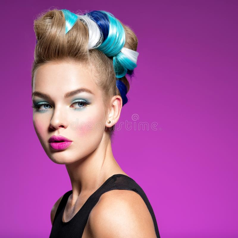 Beauty Fashion Model Girl with creative hair stock images