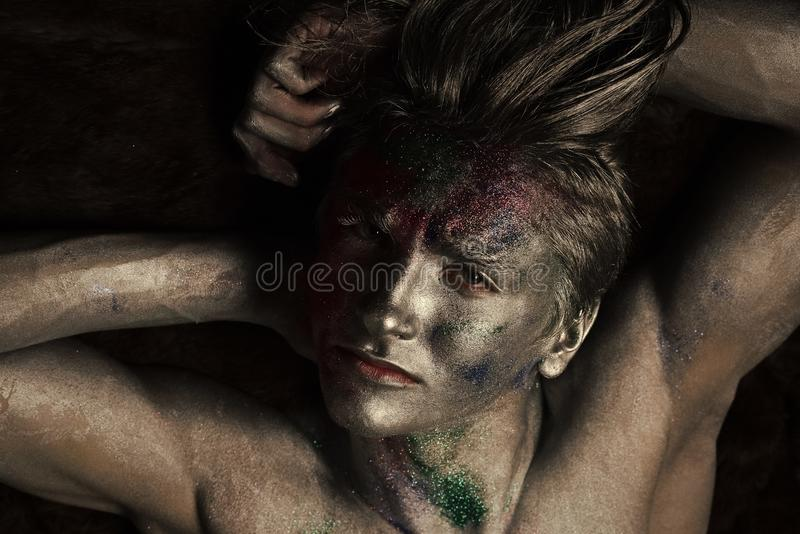 Beauty Fashion model . Fashion look. Fashion and art concept. Macho on serious face royalty free stock image