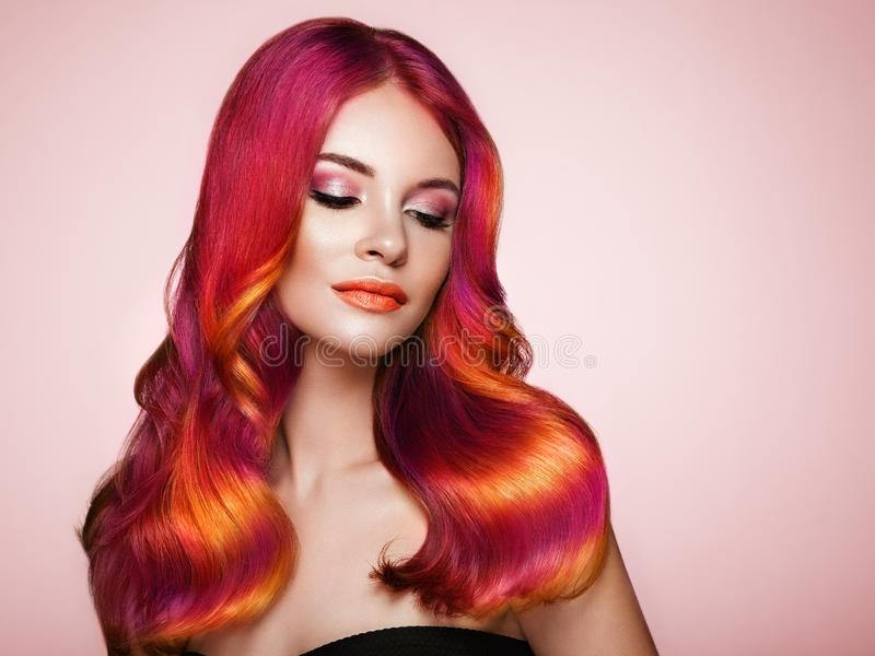 Beauty fashion model woman with colorful dyed hair stock photos