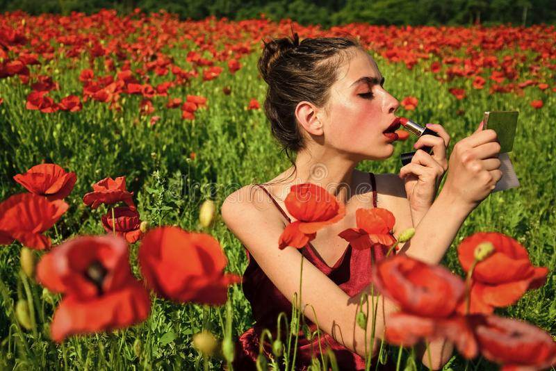 Beauty Fashion Model Woman with Red Poppy Flowers stock images