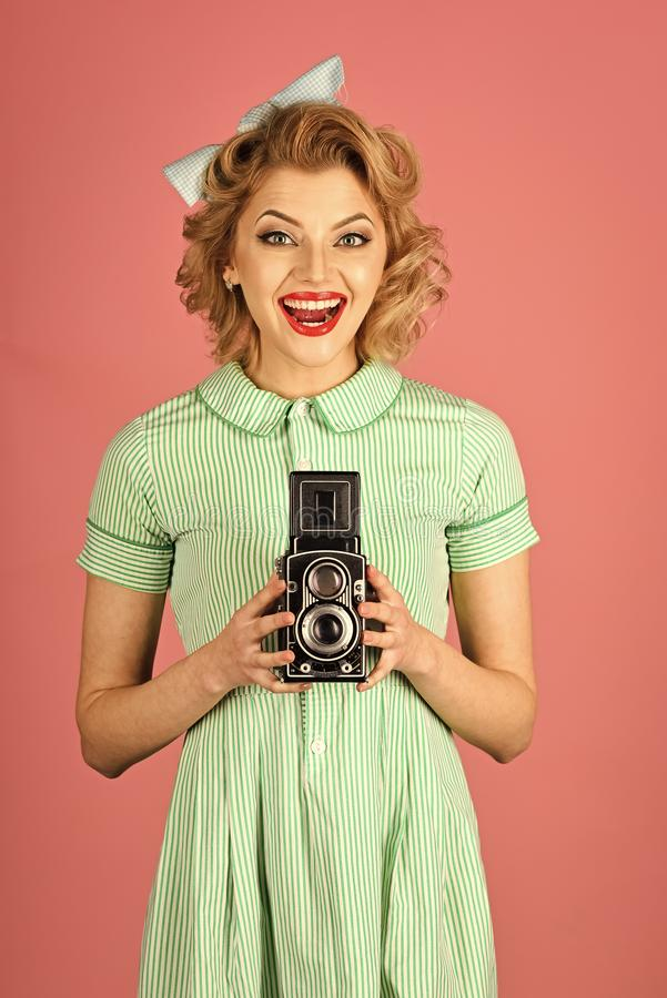 Beauty, fashion photography, vintage style. Sensual girl in pinup style, make photo. Family portrait, old fashion, journalism, pinup. Retro woman with vintage royalty free stock images