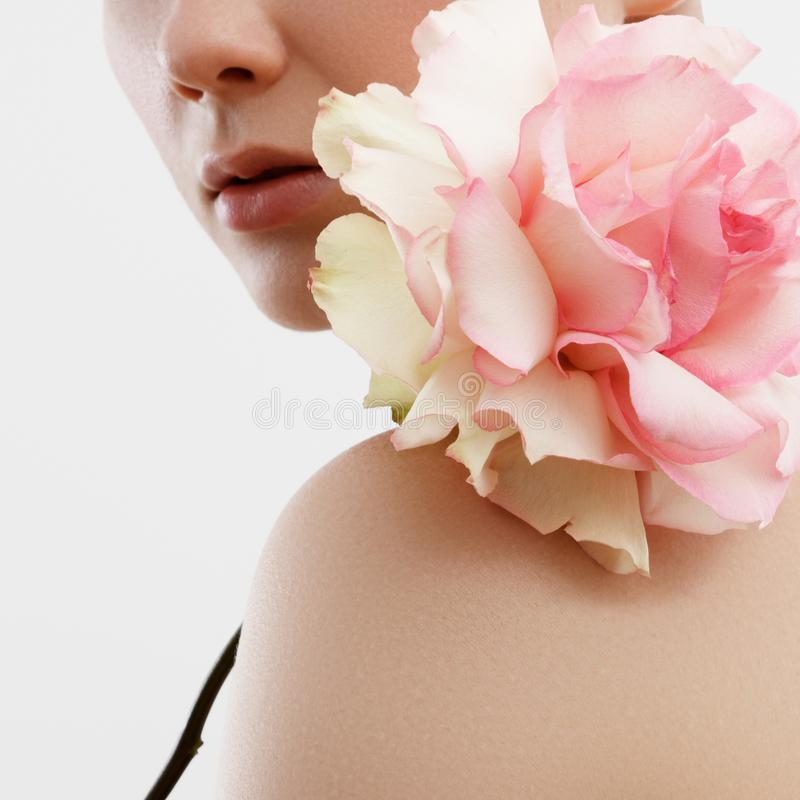 Beauty Fashion Portrait. Beautiful Woman with Makeup and Flowers. Inspiration of spring and summer. Perfume, cosmetics concept. Beauty Fashion Portrait royalty free stock image