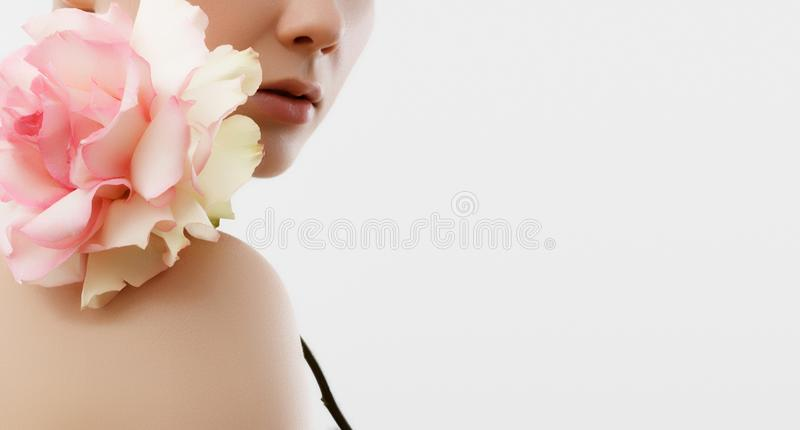 Beauty Fashion Portrait. Beautiful Woman with Makeup and Flowers. Inspiration of spring and summer. Perfume, cosmetics concept. Beauty Fashion Portrait royalty free stock images