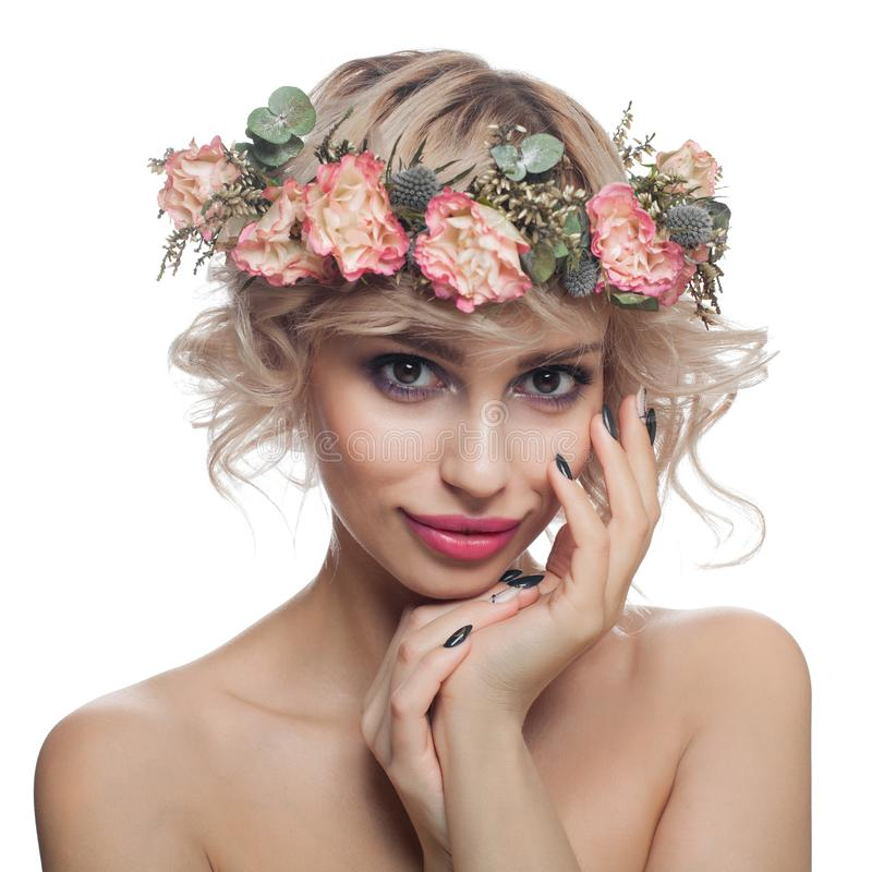 Isolated Portrait Of Beauty With Rose Stock Image