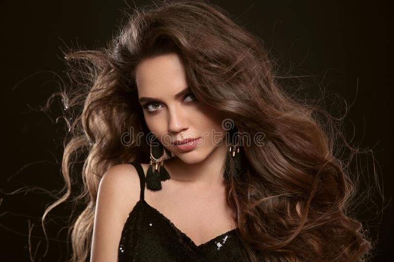 Beauty Fashion portrait of gorgeous brunette woman with lon royalty free stock photos