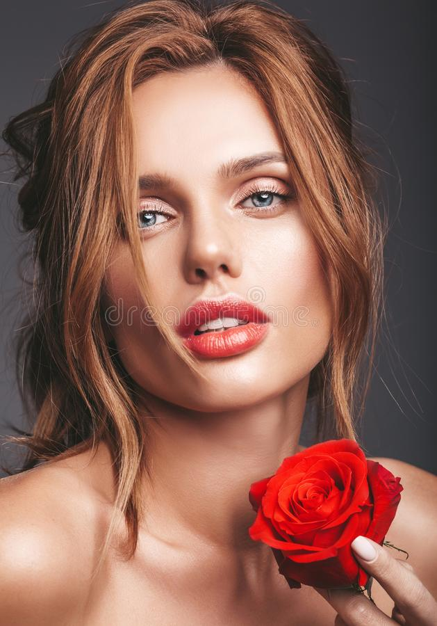 Young blond woman model with natural makeup stock photo