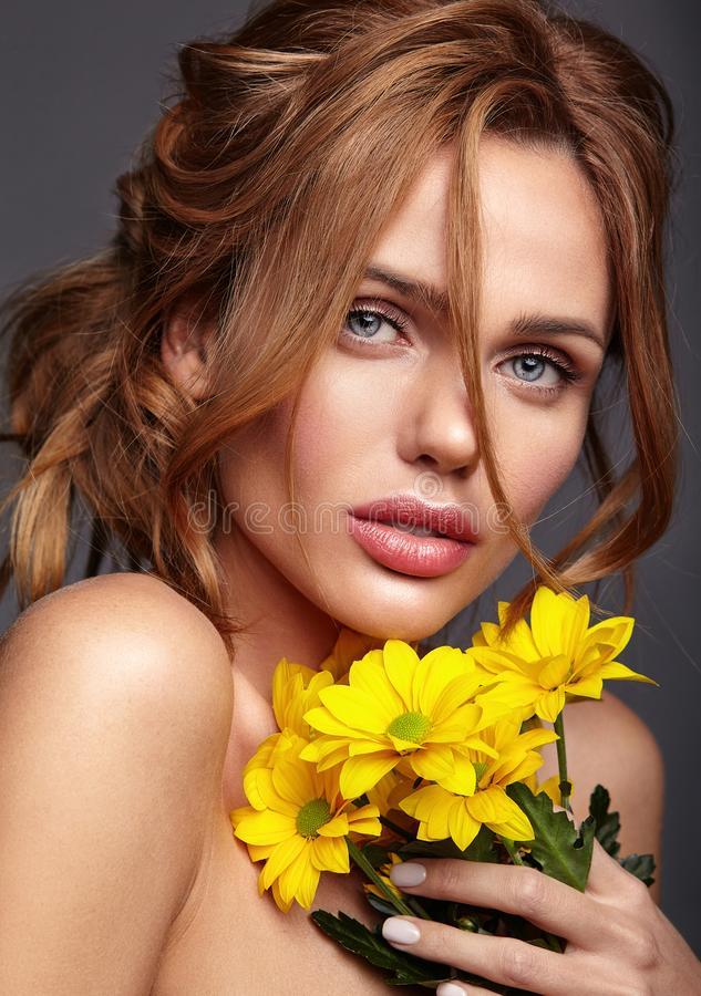 Young model with natural makeup and perfect skin stock images