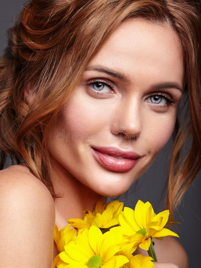 Young model with natural makeup and perfect skin royalty free stock photo
