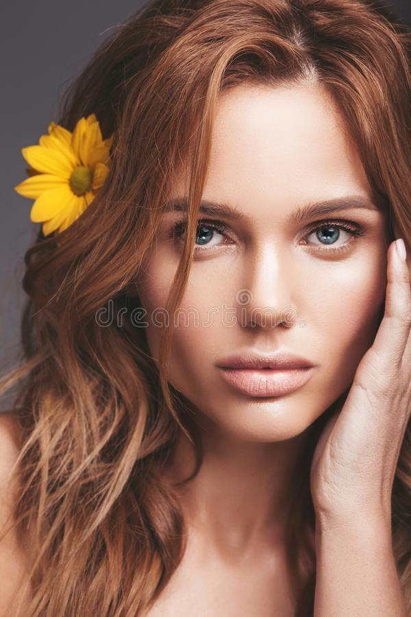 Young blond woman model with natural makeup royalty free stock photography