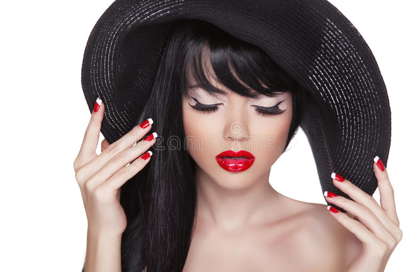Beauty Fashion Girl Portrait In Black Hat. Red Lips And