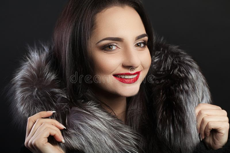 Beauty Fashion Woman Face With Perfect Smile. Closeup Of Beautiful Girl Face With Bright Makeup. Smiling Young Female Model W royalty free stock photos