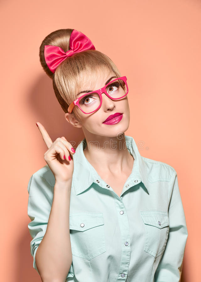 Beauty fashion woman, stylish glasses.Hipster girl stock images
