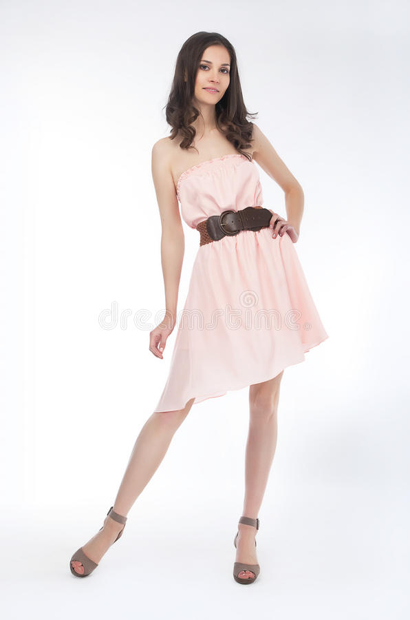 Download Beauty - Fashionable Girl In Light Dress Standing Stock Photo - Image: 24943198