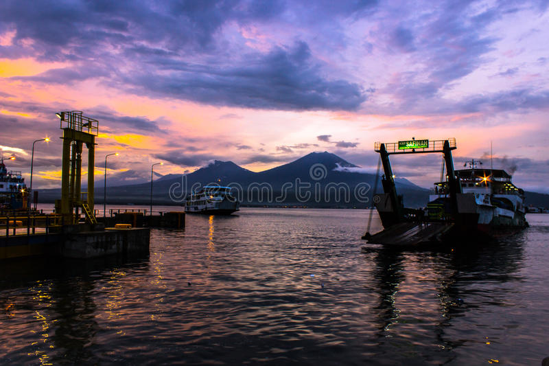 The Beauty On Ferry Port . BALI, INDONESIA stock photo
