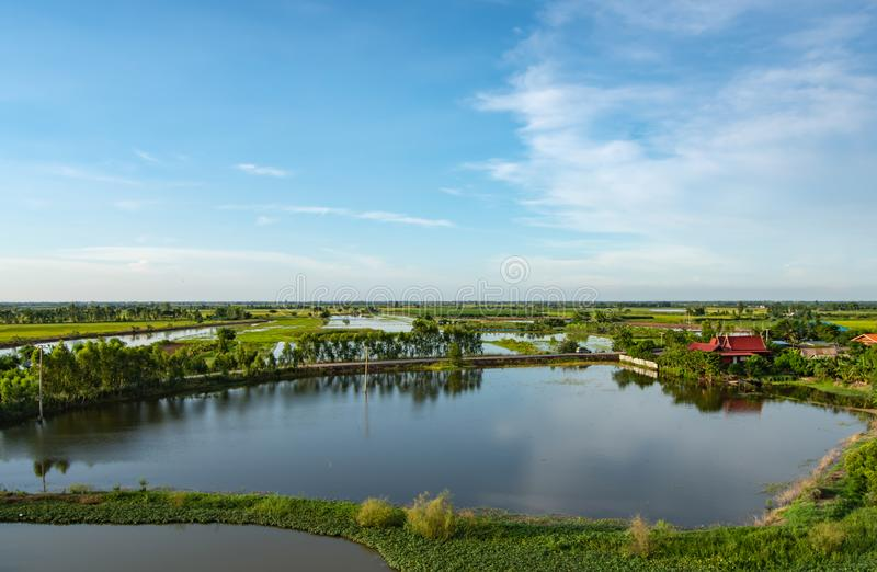 The beauty of the fields and fish ponds in the countryside. stock photo