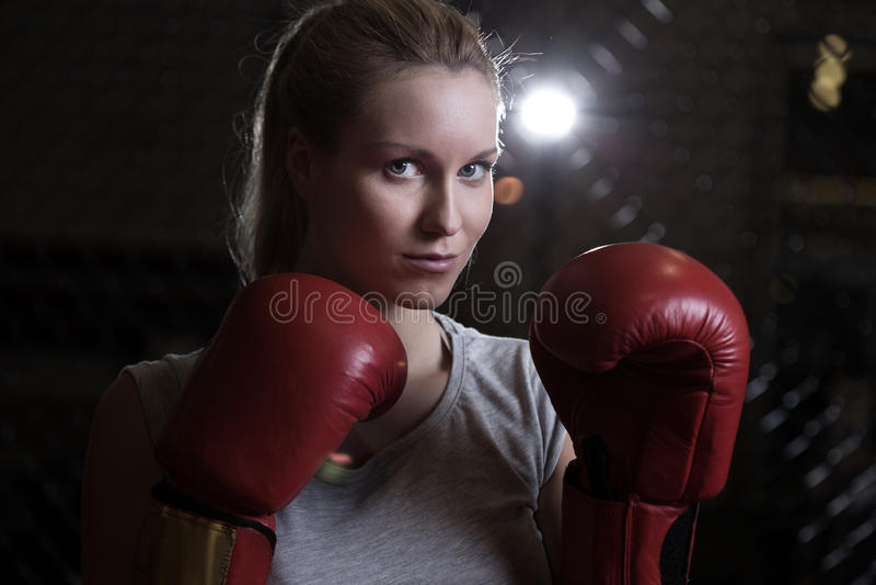 Beauty fighting girl stock photos