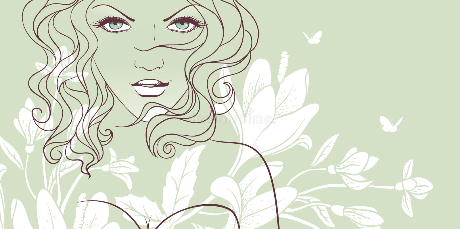 Beauty floral woman. Vector illustration of Beauty floral woman