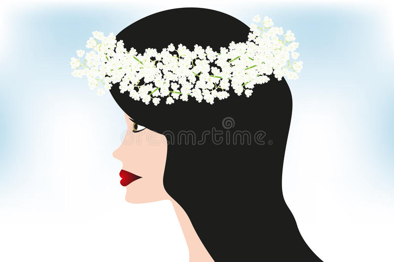 The beauty with floral wreath. Of Lily of the Valley - hand drawn illustration royalty free illustration