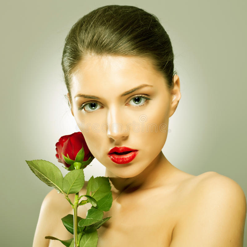 Download Beauty Flower Girl Holding A Rose Stock Photo - Image: 26587146