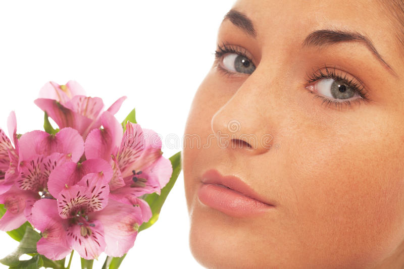 Download Beauty with flowers stock image. Image of face, beautiful - 25669333