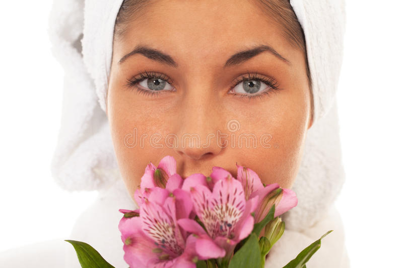Beauty with flowers. Portrait of a girl with flowers royalty free stock photography