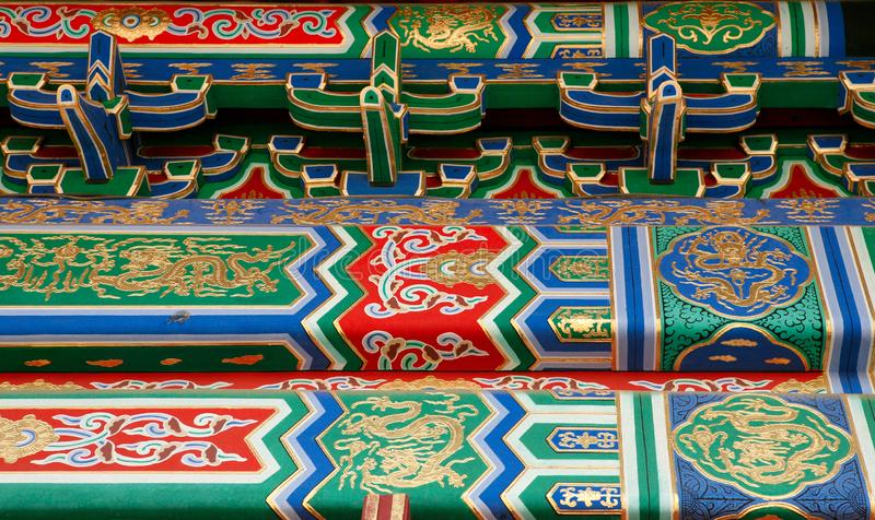 Detail of the ornaments on the walls of the buildings of the forbidden city. Beijing stock photo
