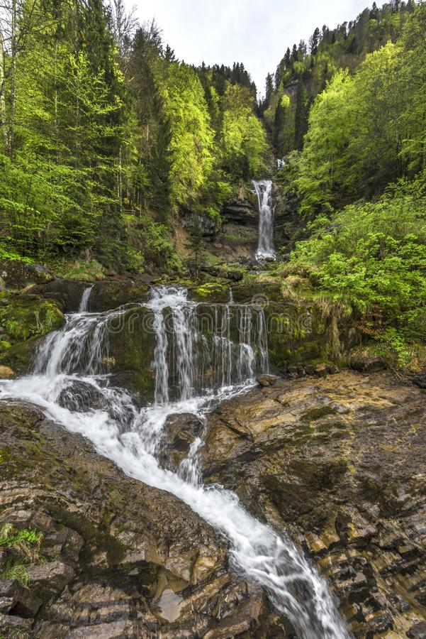 The beauty of Giessbach waterfall royalty free stock photo