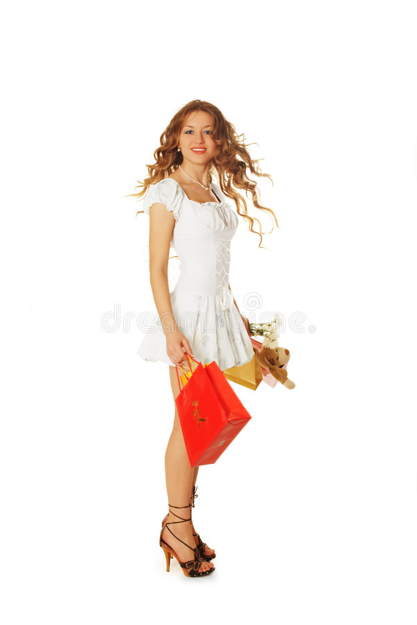 Beauty with gifts royalty free stock photo