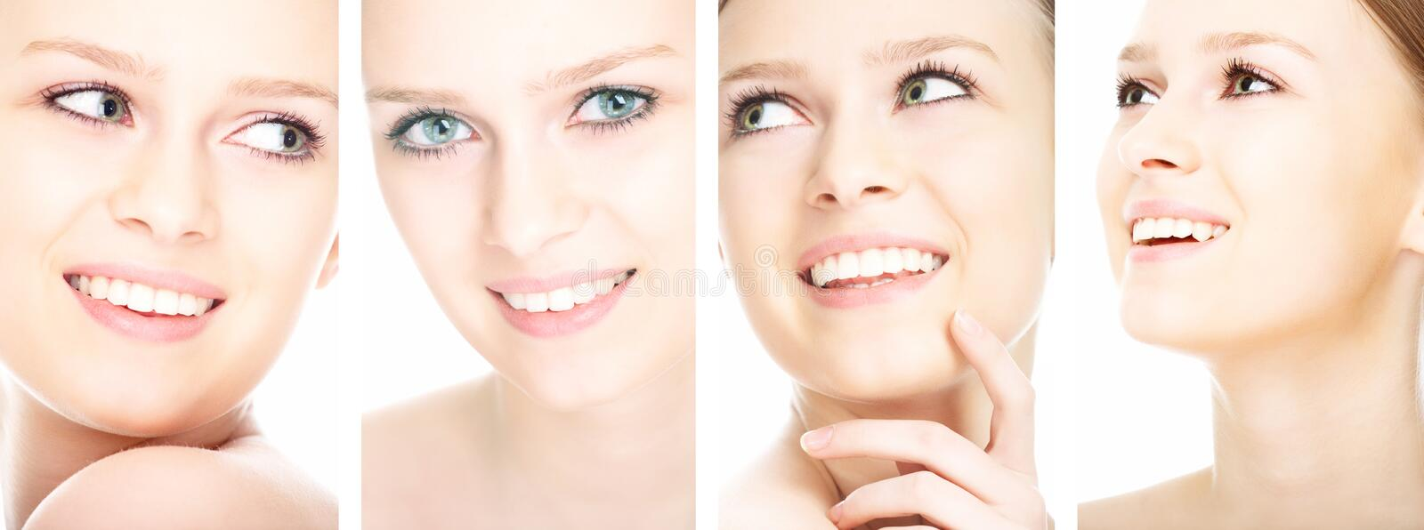 Beauty girl. On the white background collage stock photo