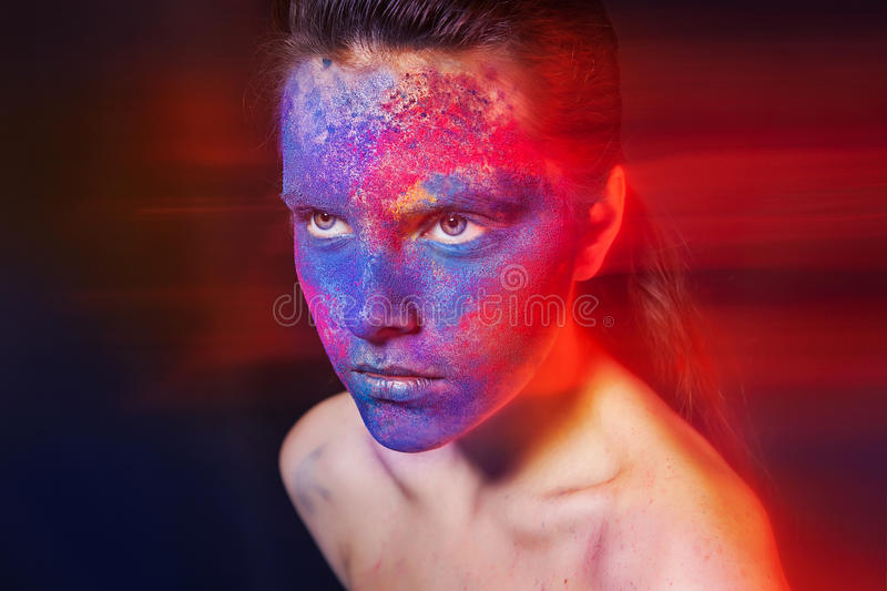 Bright makeup. fashion art woman portrait stock photo