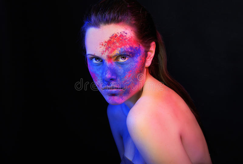 Bright makeup. fashion art woman portrait stock image