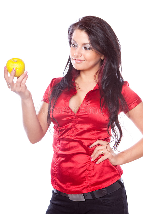 Download Beauty girl with apple stock image. Image of happy, fresh - 8779725