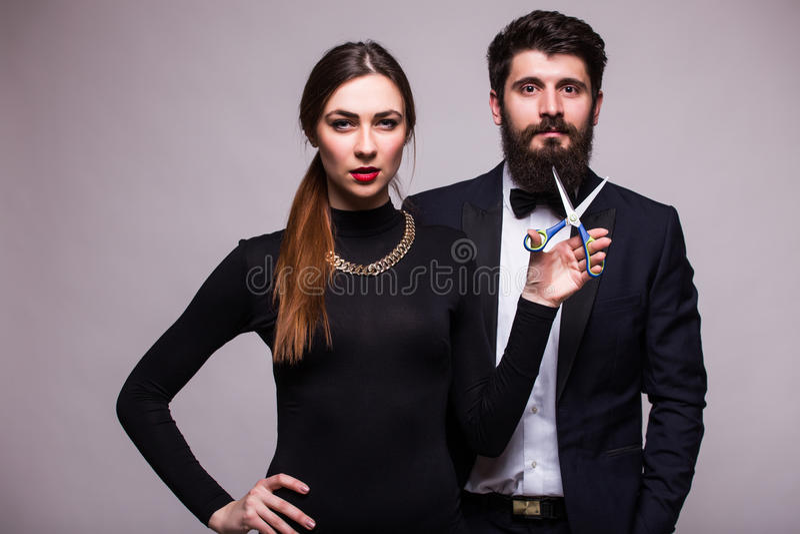 Beauty girl cut boyfriend beard royalty free stock photography