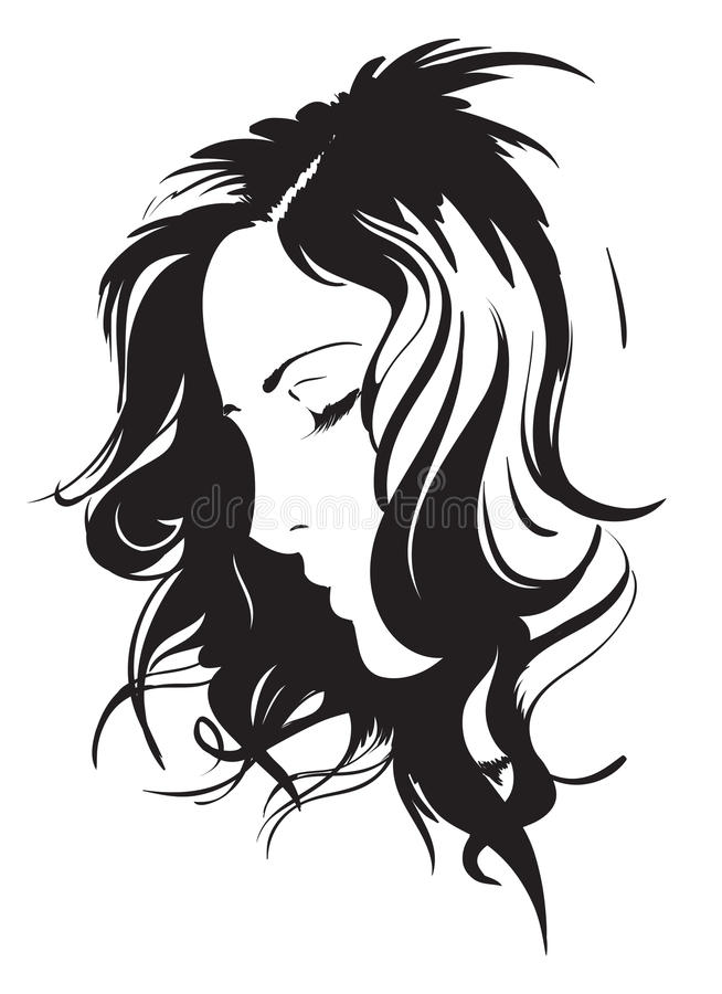 Beauty girl face. Sketch. Beauty girl face on a white background