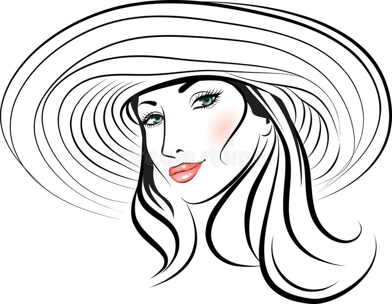 Download Beauty girl face in a hat stock vector. Image of makeup - 22577865