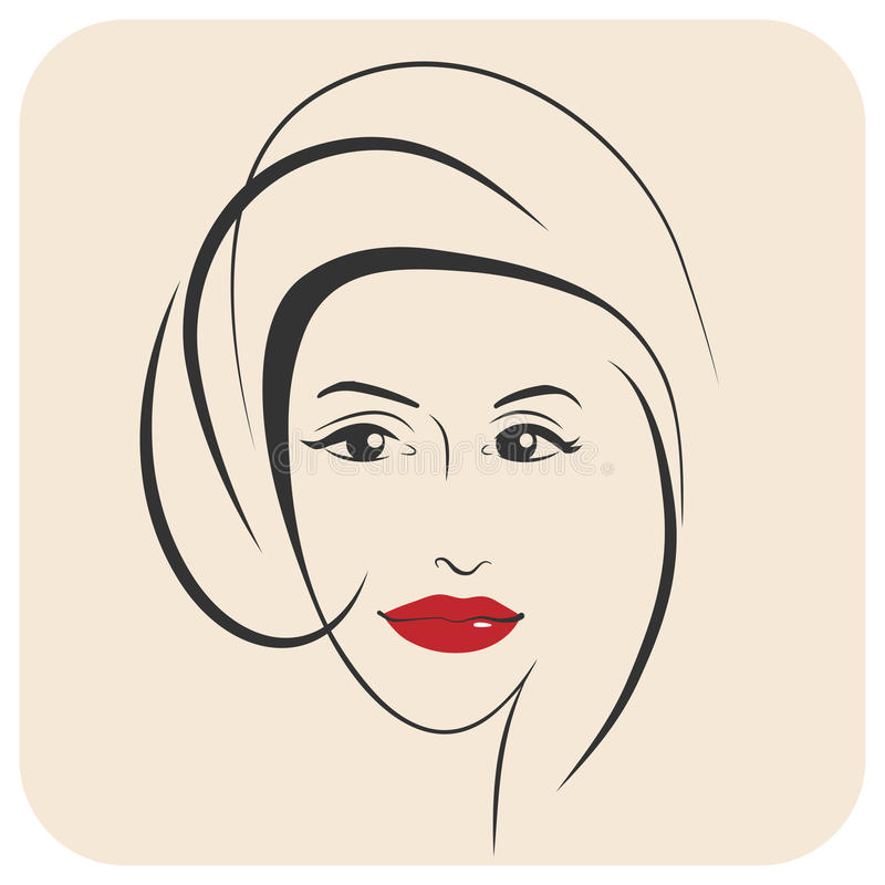 Beauty girl. Fashion beautiful woman face. Ink. Female portrait drawn in ink vector illustration