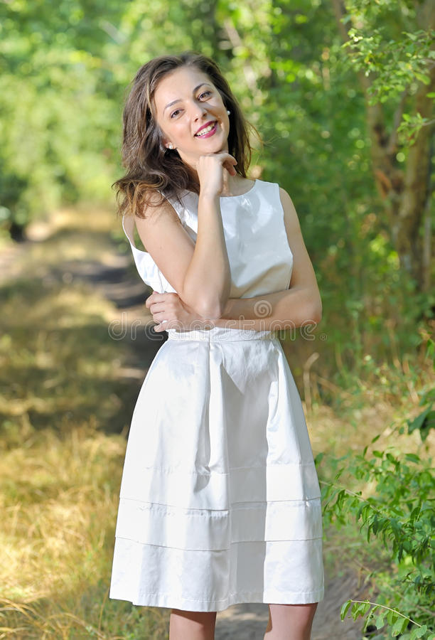 Beauty Girl In A Fashioned Dress Royalty Free Stock Photography