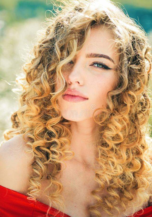 Beauty girl. Female glamour face with long blonde hairstyle. Model Girl. royalty free stock image