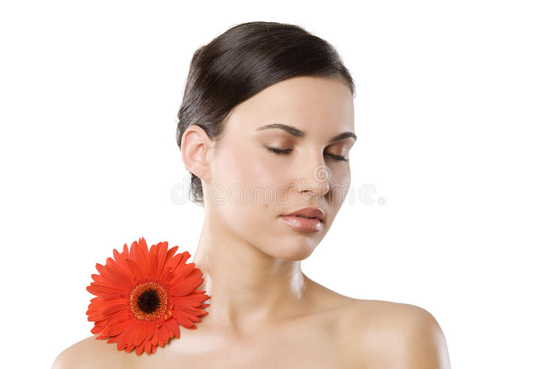Download Beauty girl with flower stock image. Image of look, face - 19375485