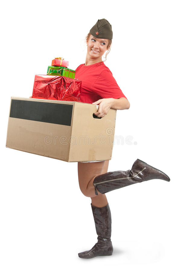 Download Beauty Girl In Garrison Cap With Christmas Gifts Stock Image - Image: 11958975