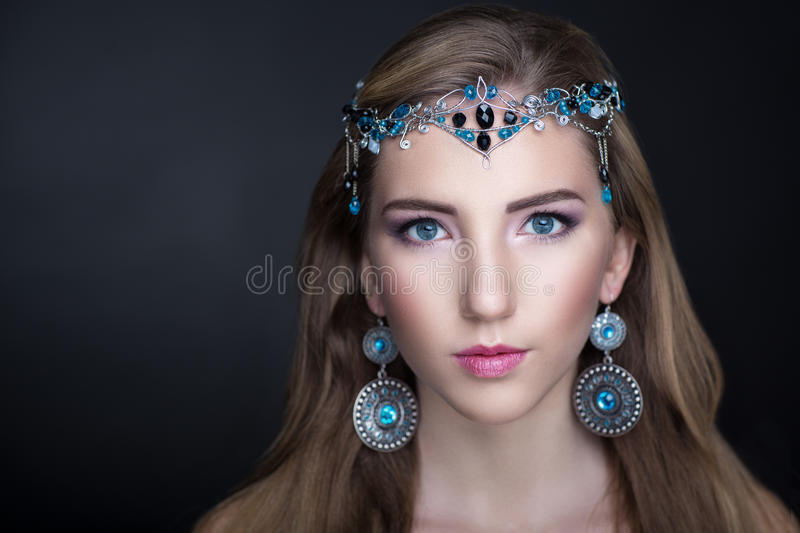 Beauty girl jewelry royalty free stock photo