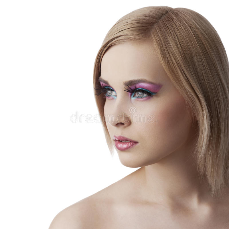 Beauty girl looking sideways with full stock photos