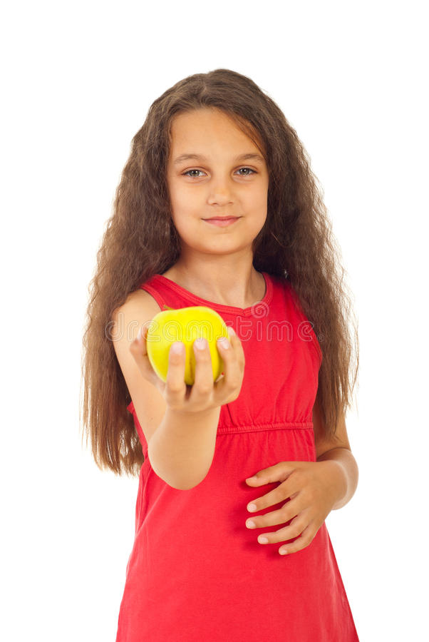 Beauty Girl Offering Apple Stock Image