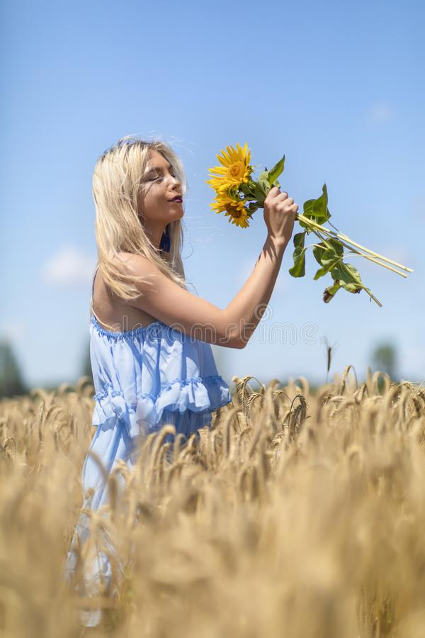 Beauty Girl Outdoors enjoying nature. royalty free stock image